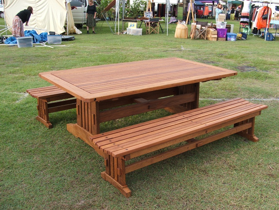 Good Recycled Timber Outdoor Table Setting In Spotted Gum With Backless Benches